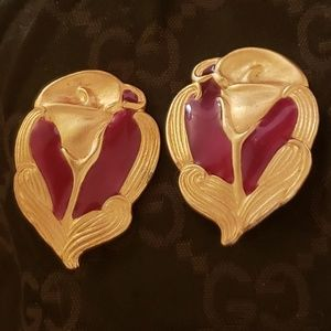 Vintage Georgiou gold plated red enamal earrings